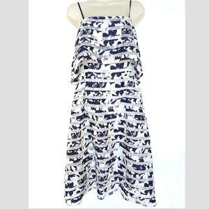 Antonio Melanie Sz 6 Navy Blue Sun Dress Floral